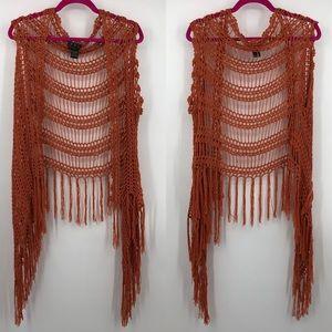 POL Crochet Fringe Orange Rust Oversized Vest L